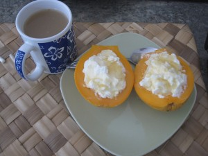 Papayas with yogurt